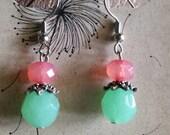 Mint & Coral Earrings
