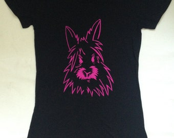 Women's Hot Pink Bunny Sketch Skinny T-shirt - EtsyGift Gift for animal lover, Valentine, gift for her, holiday, tee