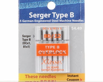Klasse Carded Overlock/Serger Machine Needles ~ 5 ct ~ Size 80/12 SERGER Type B ~ 5 Needles per package - DCx1, 81x1