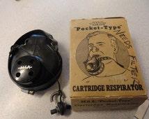 Vintage RESPIRATOR Gas Mask Mine Safety MSA Pocket Type Cartridge Respirator in Box