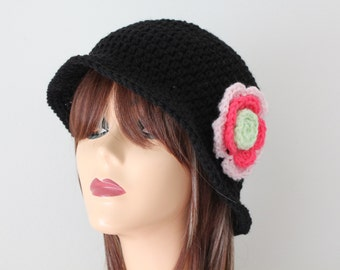 Crocheted Hat Black Cloche Hat