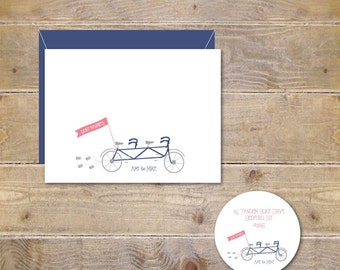 Wedding Thank You Cards, Tandem Bikes, Tandem Bicycles, Wedding, Bridal Shower, Bridal Shower, Thank You Cards, Affordable Wedding