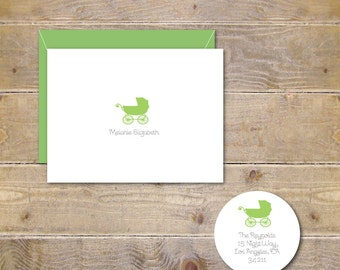 Baby Carriage Thank You Cards, Baby Announcements, Baby Shower Thank You Cards, Pram, Baby Stroller Cards, Baby Announcements