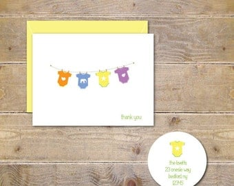 Baby Shower, Thank You Cards,  Baby Onesie, Baby Thank You Cards. Baby Onesie Cards, Baby Clothesline,  Baby Announcements, Gender Nuetral