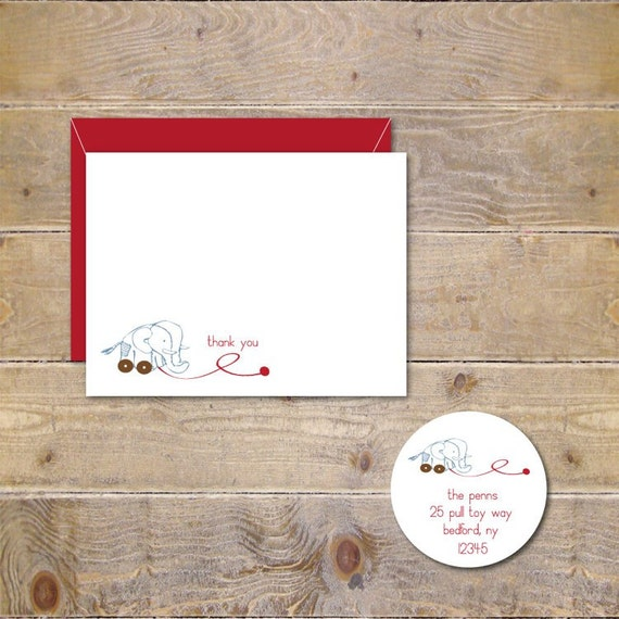 Baby Thank You Cards, New Baby, Thank You Cards,  Baby, Elephants, Pull Toy, Thank You Notes,  Elephant Pull Toy