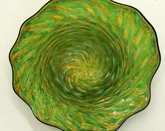 Beautiful Hand Blown Glass Art  Patterned Wall Platter Bowl Green Gold 5313 ONEIL