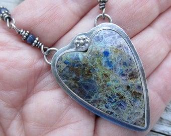 Kaleidascope Prism Stone and Blue Corundam Necklace