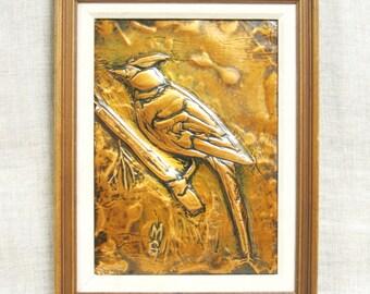 Vintage Cardinal Bird Art, Copper Relief, Metal Art, Wall Decor, Wall Art, Handmade, Rustic Art, Cabin, Lake House, Framed Art