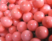 Coral Beads 10mm Lustrous Peach Pink Smooth Rounds  - Last 10 Pieces