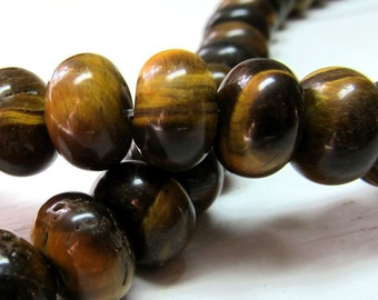 Tiger Eye Beads 13 x 9mm Smooth Chatoyant Golden Brown Rondelles -10 Pieces