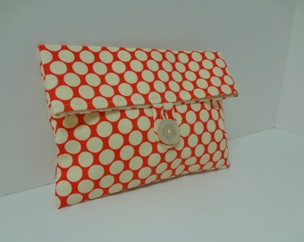 Polka Dot Makeup Bag Retro Clutch - READY TO SHIP