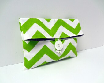 READY TO SHIP - Green Chevron Cosmetic Bag