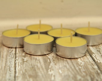 Beeswax Tea Lights - all natural, essential oils, clean burning, non-toxic, organic beeswax candle, aromatherapy, beeswax candle, home decor