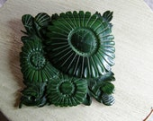 Vintage plastic square brooch with flower design in layered dark greens circa the 1960's or 1970's