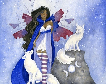 SALE - Fairy Art Print - 8.5x11 - Arctic Fox Friends - fantasy. watercolor. animal. winter. snow. purple.