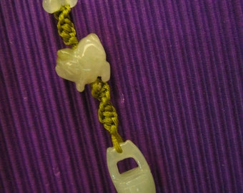 WEALTHY PIG .. Natural Jade . Handknotting Accessories / String Charm