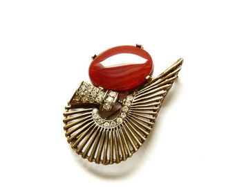 Vintage Crystal and Carnelian Pin Art Deco Style Brooch Semi Precious Stones 2.5 Inches by Lazuli Designs