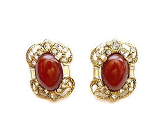 Vintage Designer Crystal and Carnelian Earrings  Art Deco Style  1.25 Inches Semi Precious Stones by Lazuli Designs