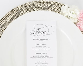 Script Elegance - Script Wedding Menu - Tea Length Dinner Menu - Deposit