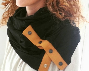 Black and Tan Leather and Jersey Infinity Scarf Snap Leather Scarf