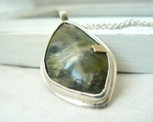 Rainforest Pendant - Sterling silver, 14k yellow gold, rainforest jasper with chain jewelry necklace