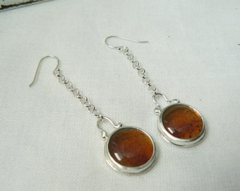 Earring EAD 81/365 and 82/365 - Pair of Sterling silver and Montana Agate Earrings - Single Earring