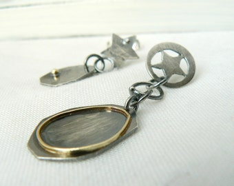 Earring EAD 84/365 - Oxidized Sterling silver and 18k Gold Earring - ONE Single Earring - Star