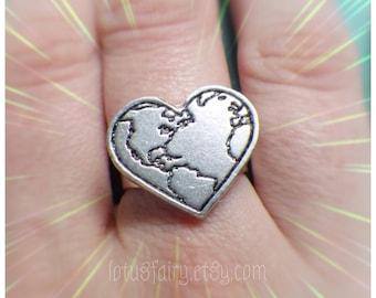 Planet Earth Gaia Heart ring