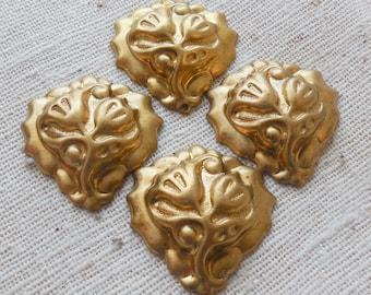 Raw Brass Tulip Stamping (4) (NO HOLES) Steampunk, Victorian, Art Nouveau, Patina