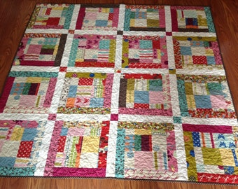 Funky and Retro Lap or Baby Quilt in MoMo Wonderland Fabrics