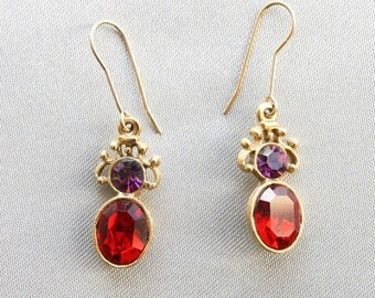 Vintage Red Purple Rhinestone Earrings, Bridesmaids, Small Gift, Special Occasion