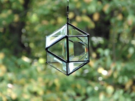 Stained glass orb, bevel suncatcher, modern contemporary, crystal clear, geometric spherical 3D suncatcher,  apartment therapy, brit co.