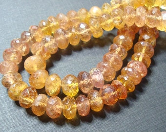 Gorgeous Genuine Pink Golden Imperial Topaz Faceted Lovely Rondelle, 20% sale, full Strand, 4.5mm - a30.2
