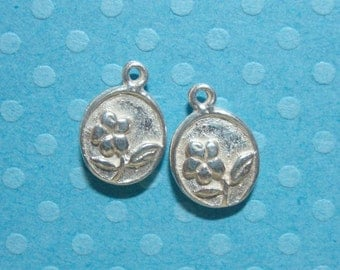 2 pcs, Double sided, 925 Sterling silver cute Little Flowers Motif Charm Pendant or Earring Drops, Bright Silver, 11.7x8x2.2 mm,PC-0094