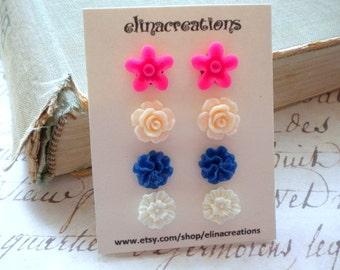 Flower Girl Gift Flower Earrings Gifts For Children Gift Set Earrings Floral Post Earrings Flower Girl Earrings Flower Stud Earrings