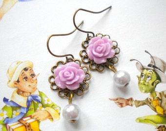 Little Girl Earrings Children Dangle Earrings Lavender Earrings Flower Girl Jewelry Flower Kid Earrings Wedding Pearl Earring Purple Jewelry