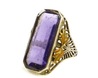 Edwardian Ring, Amethyst Ring, Sterling Silver, Filigree Metal, Gold Plated, Laurel Leaf, Antique Jewelry, Size 4.5