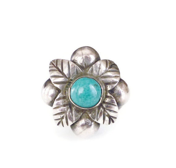 Taxco Sterling Ring Mexican Silver Turquoise Stone Flower