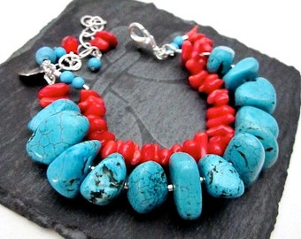 Red & Blue Gemstone Bracelet -- Blue and Red Bead Bracelet -- Multi Strand Bead Bracelet -- Magnesite Bracelet -- Chunky Gemstone Bracelet