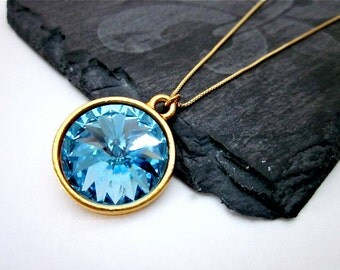 Aquamarine Crystal Pendant -- Blue Swarovski Necklace -- Blue & Gold Necklace -- Crystal Drop Necklace -- Blue Crystal Necklace