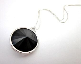 Black Swarovski Necklace -- Black Drop Necklace -- Jet Black Necklace -- Silver & Black Drop Necklace -- Jet Black Pendant Necklace