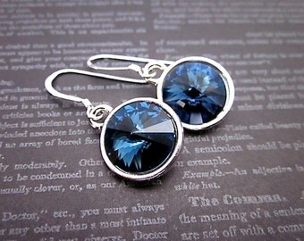 Montana Earrings -- Silver & Dark Blue Earrings -- Dark Blue Swarovski Earrings -- Dark Blue Crystal Dangles -- Montana Crystal Earrings