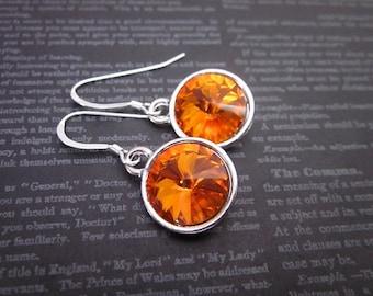 Silver & Orange Drop Earrings -- Orange Crystal Earrings -- Cute Orange Earrings -- Bright Orange Dangles -- Tangerine Crystal Earrings