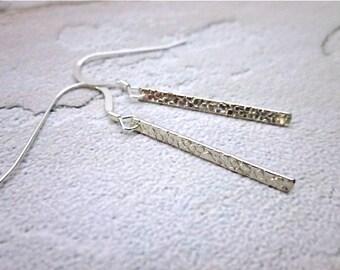 Minimalist Sterling Earrings -- Textured Sterling Earrings -- Stick Dangles -- Simple Textured Earrings -- Long Rectangle Earrings -- Bar