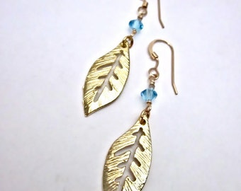 SALE -- Beaded Gold Leaf Earrings -- Blue Crystal Leaf Earrings -- Gold and Blue Bead Earrings -- Simple Leaf Earrings -- Gold Leaf Earrings
