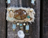 """SALE!!! 50% OFF!  OOAK """"Serenity by the Sea"""" Mixed Media Lariat Style Necklace"""