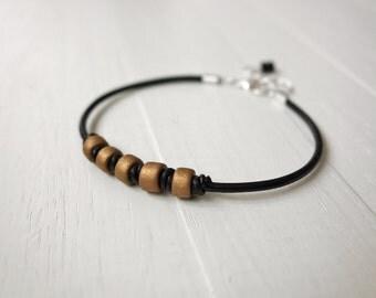 Leather bracelet black cord bracelet bronze ceramic beads knotted cuff bracelet men women unisex
