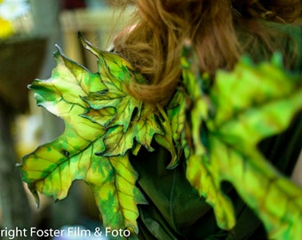 Leather Leaf Fairy Faery Wings Maple Oak Greens Oranges for Bridal Wedding Cosplay Convention LARP Halloween Costume Fair Faire Festival