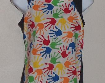 Handmade Unisex Child's Hand Print Apron, size S (3-5)