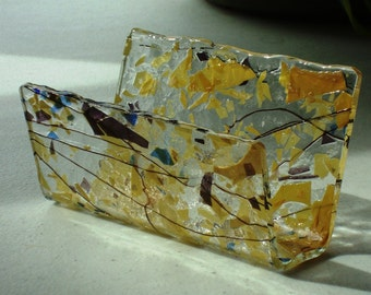 Fused Glass Business Card Holder -  Amber and purple 5318